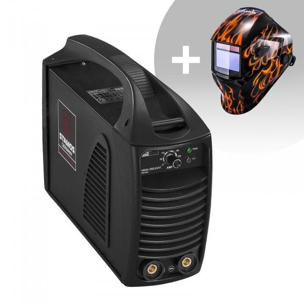 Schweißset Elektroden Schweißgerät – 250 A – Hot Start - IGBT + Schweißhelm – Firestarter 500