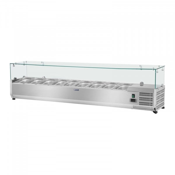 Kühlaufsatzvitrine - 180 x 33 cm - 9 GN 1/4 Behälter - Glasabdeckung