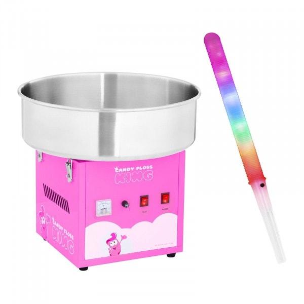 Zuckerwattemaschine mit Zuckerwattestäbchen LED - 52 cm - 1.200 W - 50 Stk. - pink