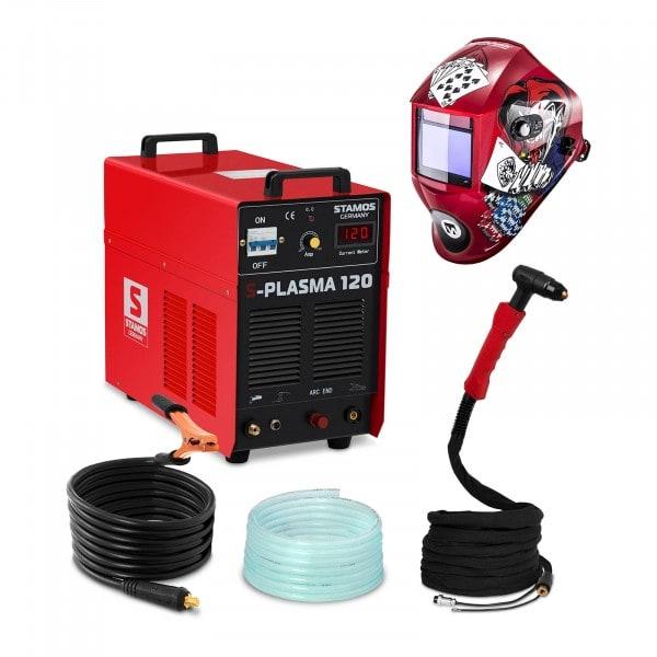 Schweißset Plasmaschneider - 120 A - 400 V - Pilotzündung + Schweißhelm – Pokerface