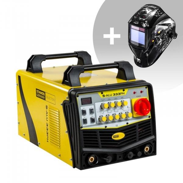 Schweißset ALU Schweißgerät - 333 A - 400 V - Puls + Schweißhelm – Metalator