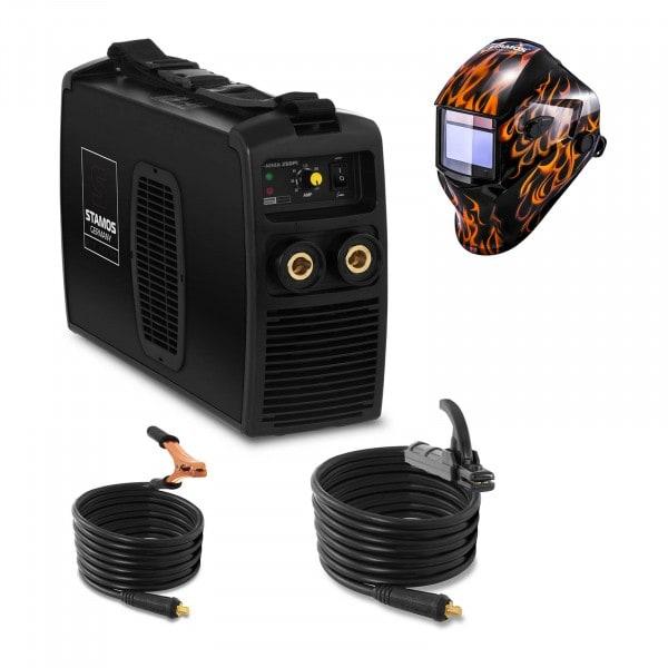 Schweißset Elektroden Schweißgerät - 250 A - 230 V IGBT + Schweißhelm – Firestarter 500