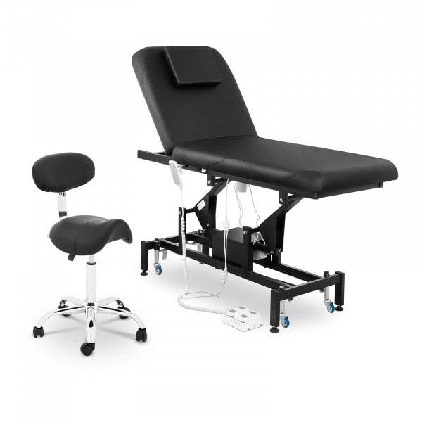 Massageliege elektrisch und Sattelstuhl - 2 Motoren - Fußpedal - schwarz