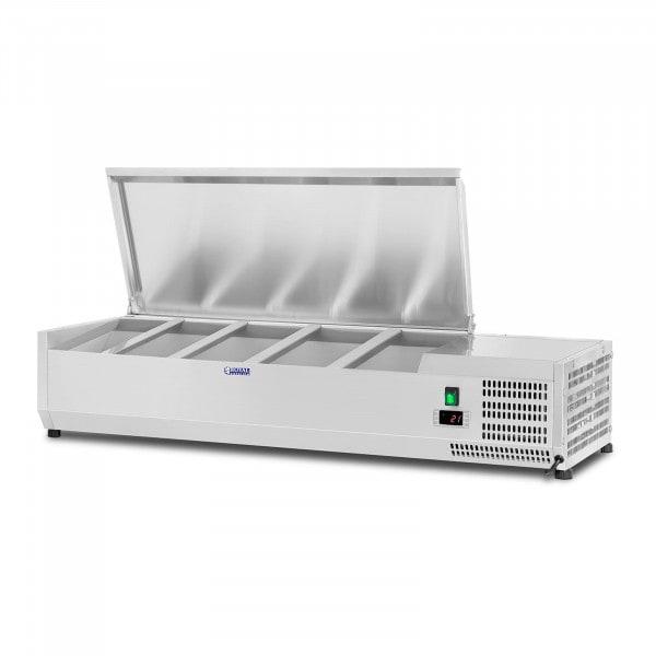 B-Ware Kühlaufsatzvitrine - 120 x 33 cm - 5 GN 1/4 Behälter