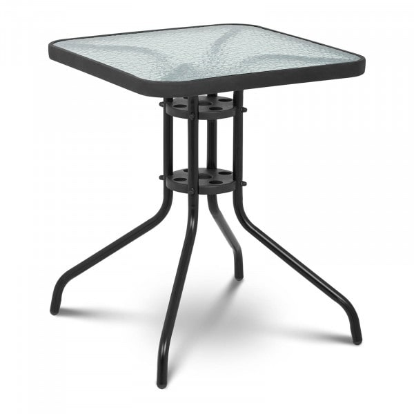 Gartentisch - 60 x 60 cm - Glasplatte - schwarz