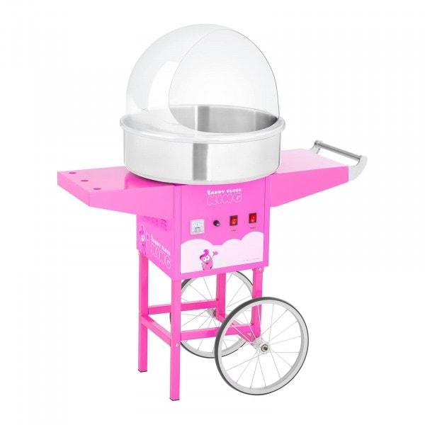 Zuckerwattemaschine Set mit Wagen und Spuckschutz - 52 cm - 1.200 W - pink
