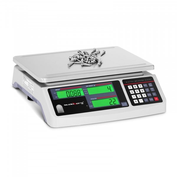Zählwaage - 30 kg / 1 g - 3 LCD - Akku 72 h